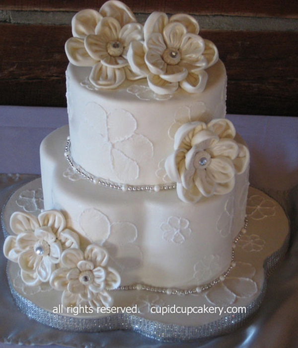 Brush Embroidered & Fabric-Look Flowers Wedding Cake