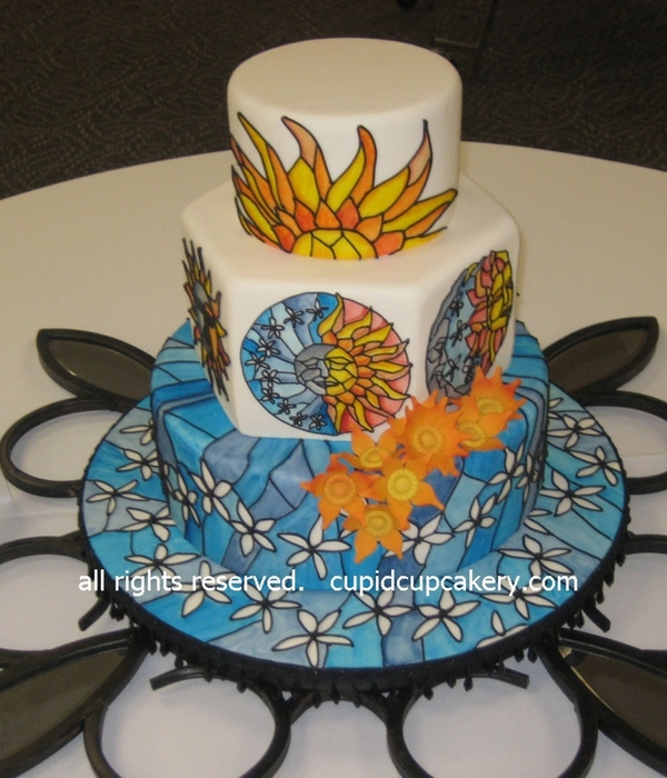 Sun And Moon Stained Glass Cake