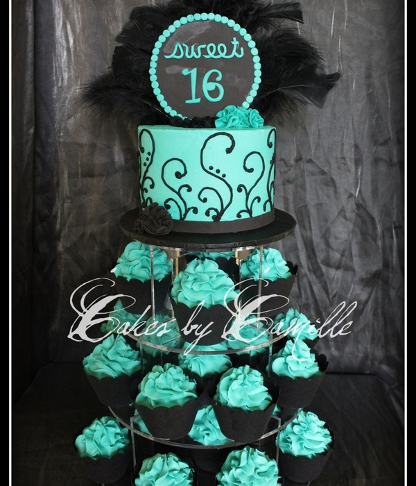 Chic Sweet 16 Cupcake Tower