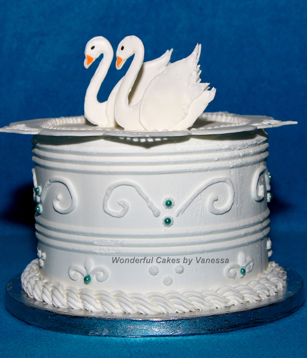 Royal Icing Cake With A Collar And Swans Made During The...