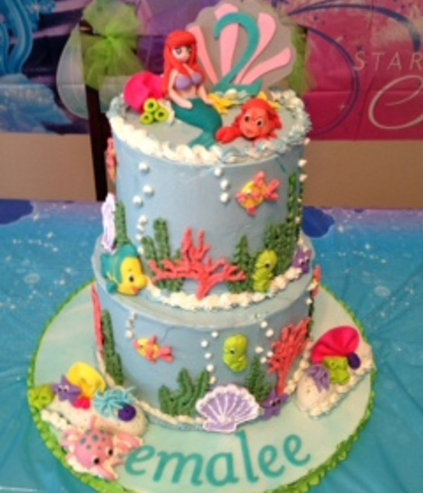Little Mermaid Cake With Royal Icing And Gumpaste Figures...