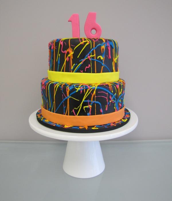Groovy Neon Cake Decorating Photos Birthday Cards Printable Giouspongecafe Filternl
