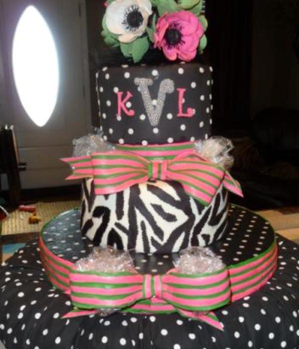 Polka Dot And Zebra Birthday Cake