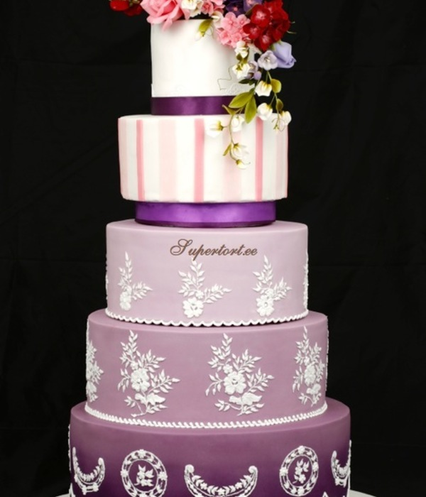 Hand Painted Royal Icing Cake With Sugar Flowers