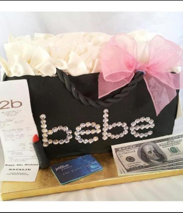 Bebe 3D Shopping Bag With Money Credit Card Receipt Satin Bow Tissue Bling Fondant Cake
