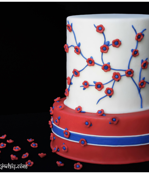 4Th Of July Cake With Red, White And Blue Flowers