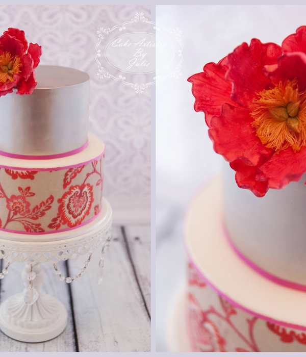 A Beautiful Birthday Cake Using Edible Wafer Paper On The...