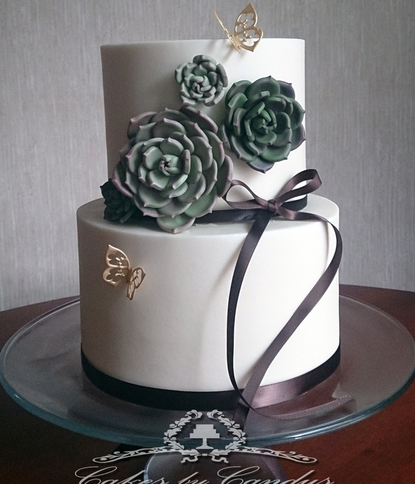 Buttercream Exterior Cake With Sugarpaste Succulents For A Graden Themed Bridal Shower