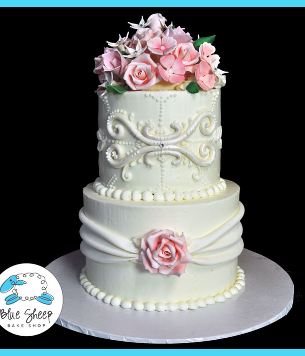 Pink Floral Buttercream Wedding Cake