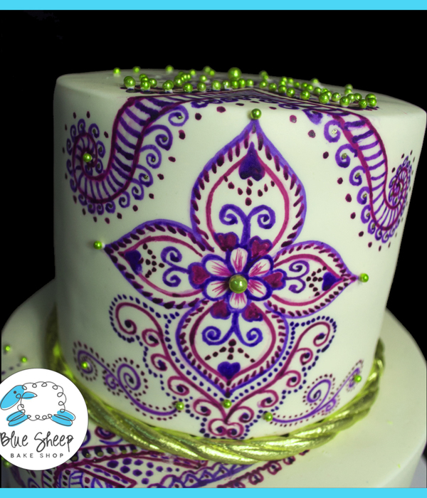 Hand Painted Henna Inspired Wedding Cake
