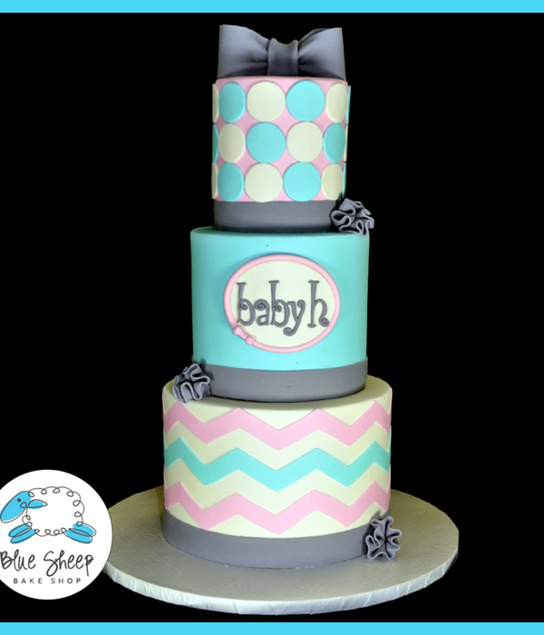 Pink And Blue Chevron Baby Shower Cake