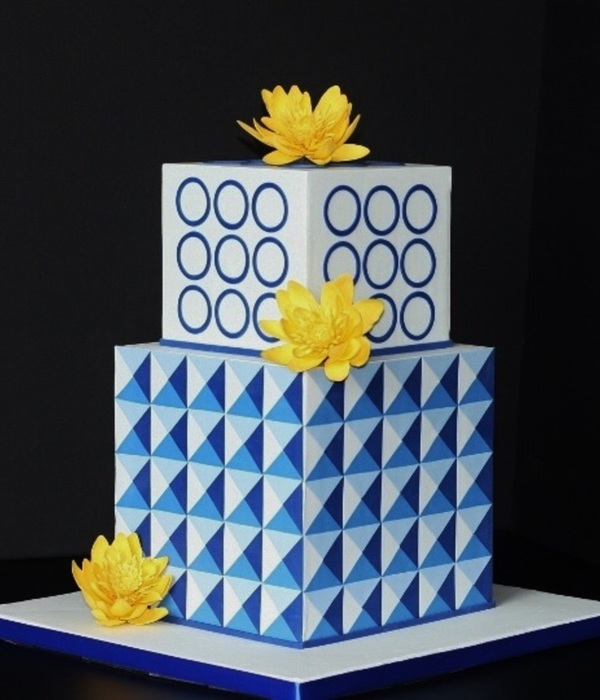 Geometric Cake With Lotus Flowers