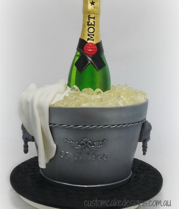 A Bottle Of Moet Champagne On Ice Cake To Cater For Approx
