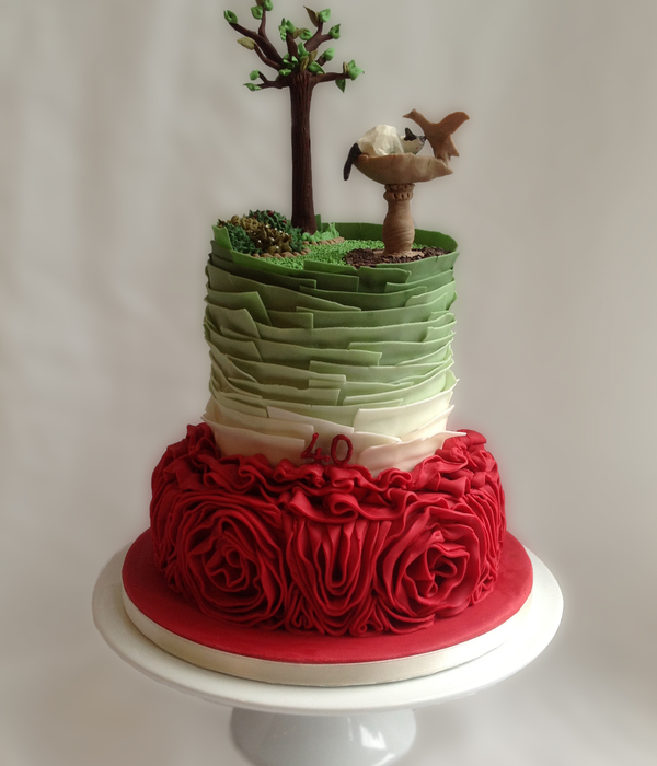 Garden Ruby Wedding Anniversary Cake
