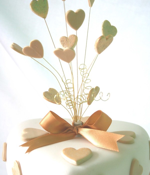 Hearts Of Gold Wedding Cake