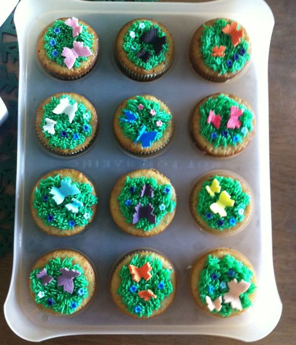 These Are Confetti Cakes With Buttercream Grass And...