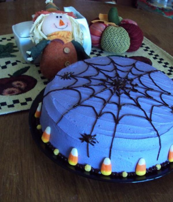This Is A Chocolate Cake With Buttercream Fudge Spiderweb...