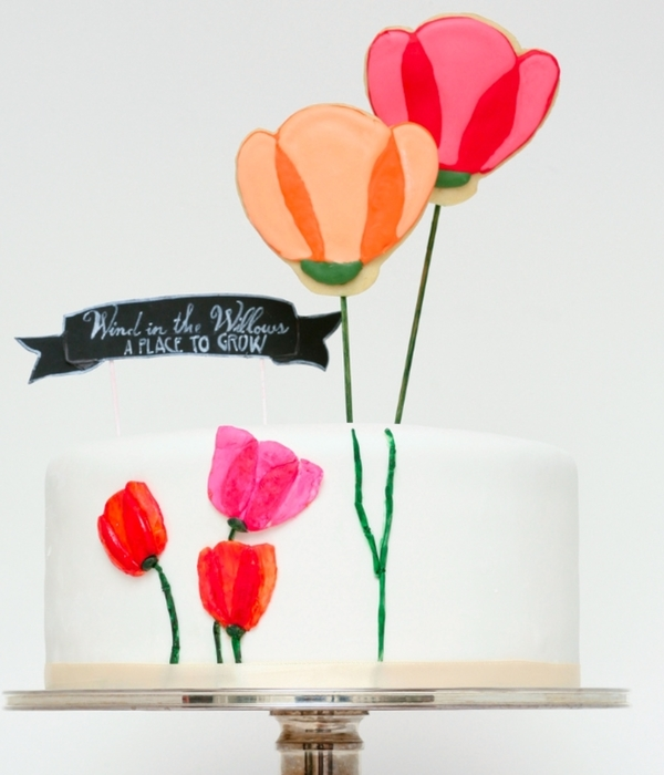 Tulip Cake With Flower Cookie Pops