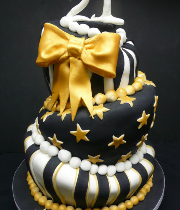 Black White And Silver Birthday Cakes