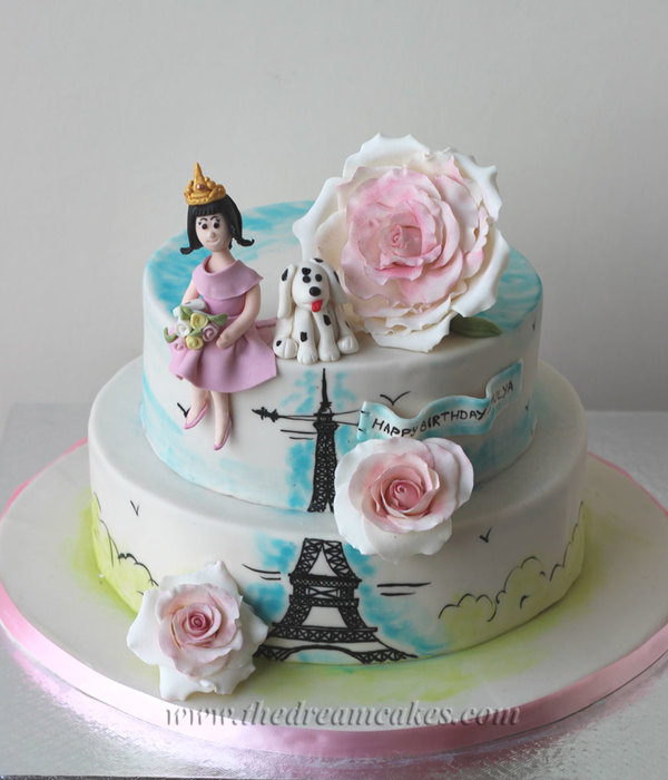 An Evening In Paris A Birthday Cake For A Sweet 16Th Birthday Of A Pretty Girl The Theme Of The Party Was Evening In Parishandpainted Th