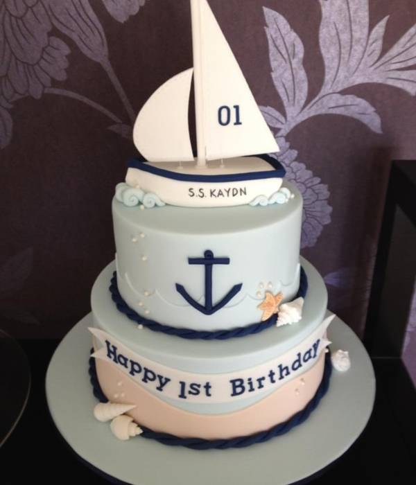 1St Birthday Sail Boat Cake