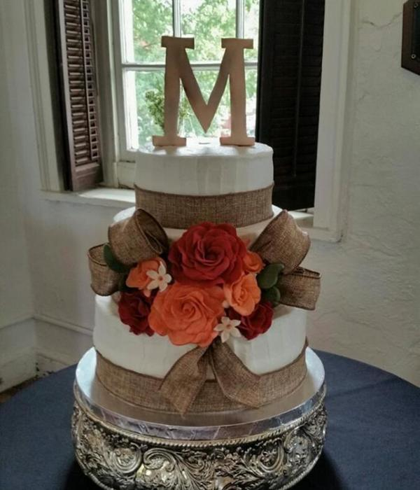 Wedding Cake With Burlap Ribbon And Sugar Flowers
