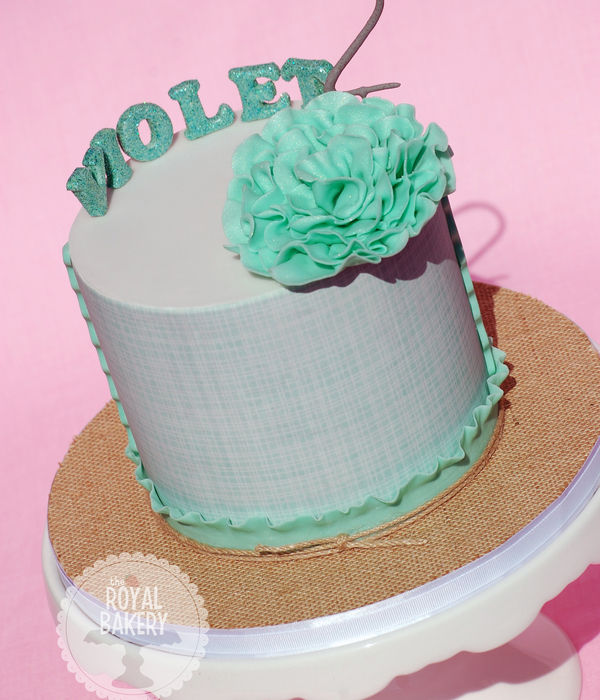 A 6 Cake Wrapped In An Edible Image For Violets 2Nd...