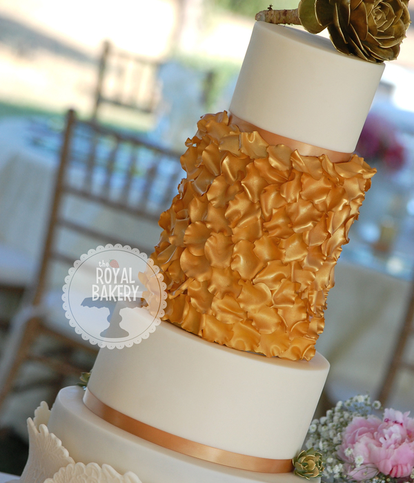 Gold Rose Petal Wedding Cake