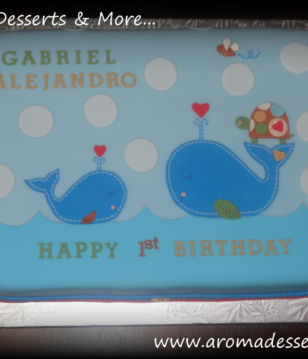 Whales & Turtles, 1St Birthday Cake