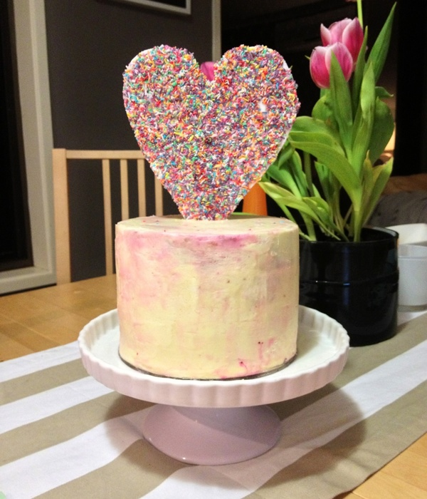 Pastel Watercolor Love Heart Sprinkle Cake