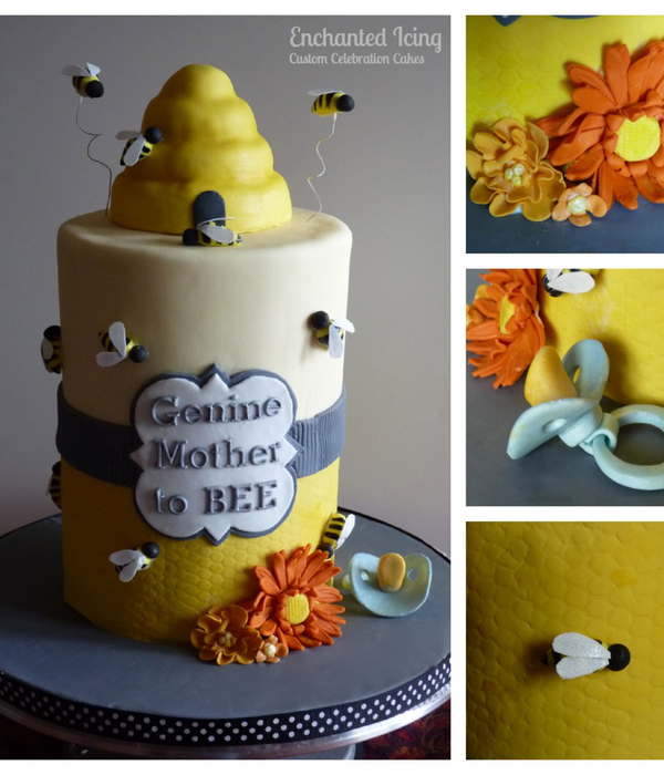 The Order Was For A Cake That Wasnt Too Babyish With A Mother To Bee Theme I Came Up With This Design Everything Is Edible Except The