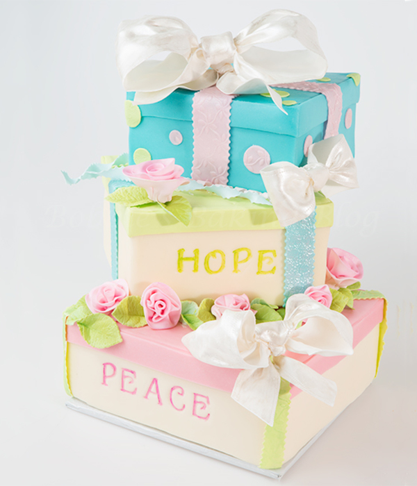 Top gift box cakes cakecentral gift box cake filled with peace hope for 2013 negle Images