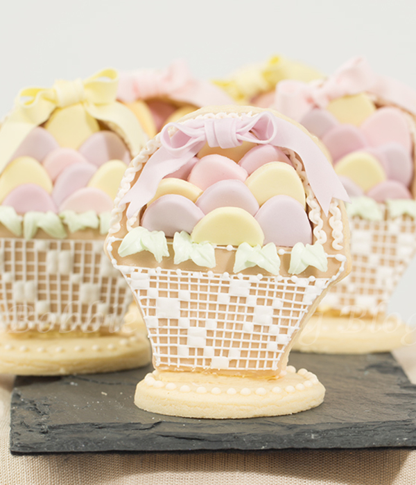 Vintage Lace Easter Basket Filled With Eggs