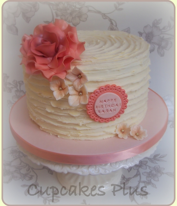 Ridge Buttercream Cake With Large Peach Rose