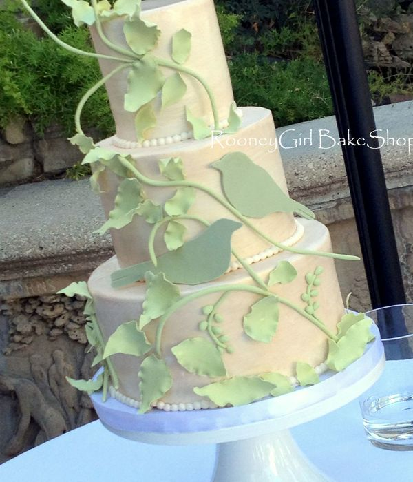 Vines And Birds Are Gumpaste I Inserted Floral Wire Into The Vines To Give The The Strength To Hang Off The Cake
