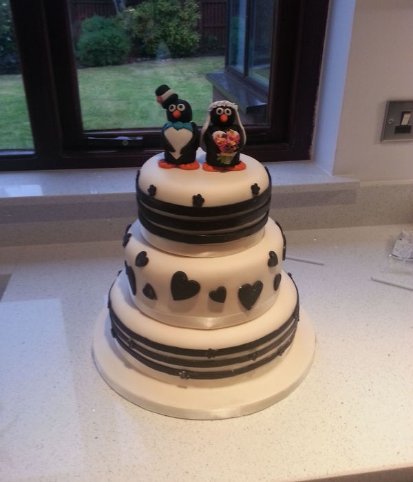 Black And White Wedding Cake Stripes Penguin Topper