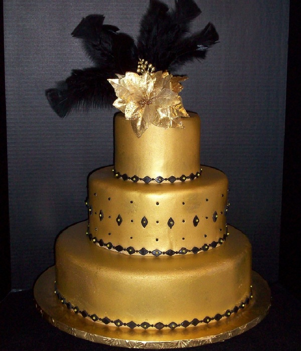 Gold And Black Wedding Cake Brides Request Was A Gold Fondant Black Trim Black Feathers Black Dots Back Of The Cake Needed To Say Ha