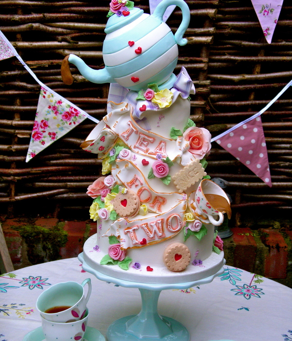 Tea For Two Wedding Celebration Cake I Made For A Summer Wedding Fair