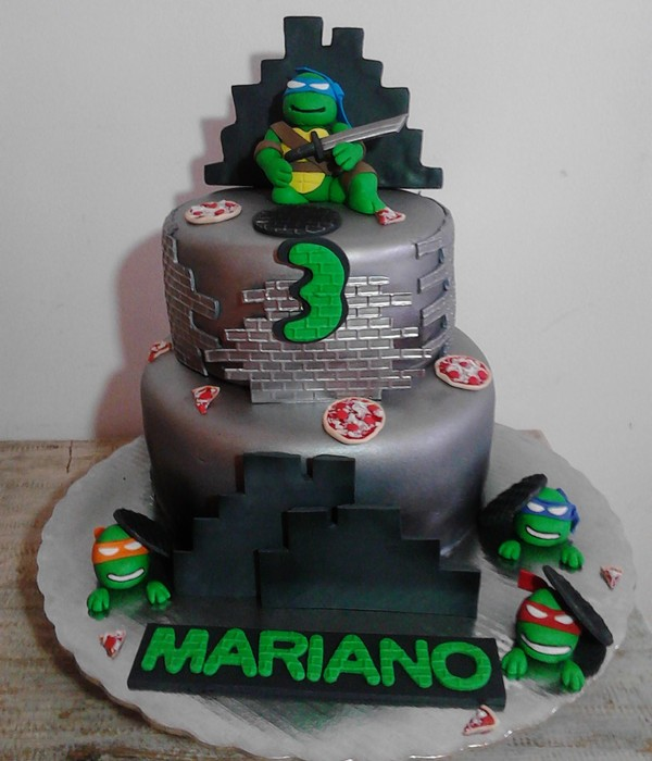 Ninja Turtle B-Day Cake... Turtle, Ninja, Green, Pizza, Silver