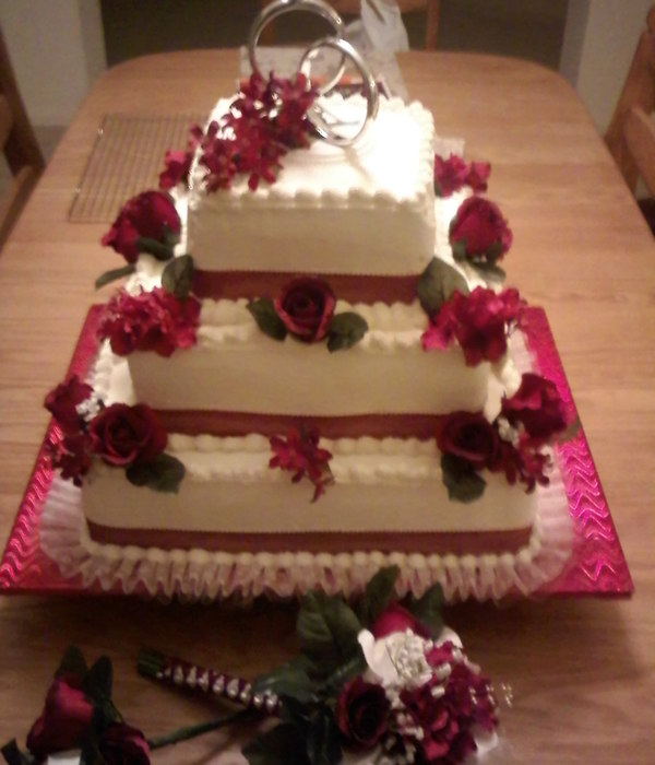 3 Tier Square Stacked, White Cake, Bavarian Cream Filling,...