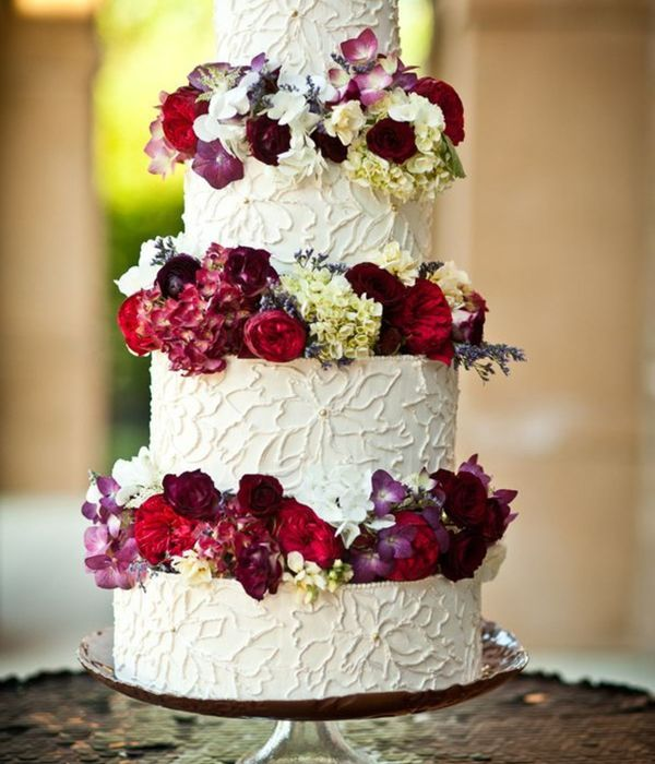 Floral Piped Buttercream Wedding Cake With Luster And Metallic Details And Fresh Flowers