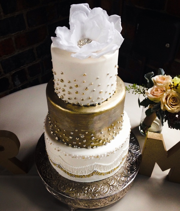 Metallic Silver And Gold Three Tier Wedding Cake With A...
