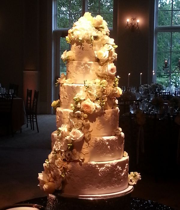 6 Tier Hand Molded Fondant Lace Wedding Cake With Flowers