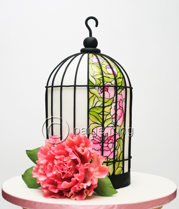 Birdcage Cake - Peony Stained Glass Design