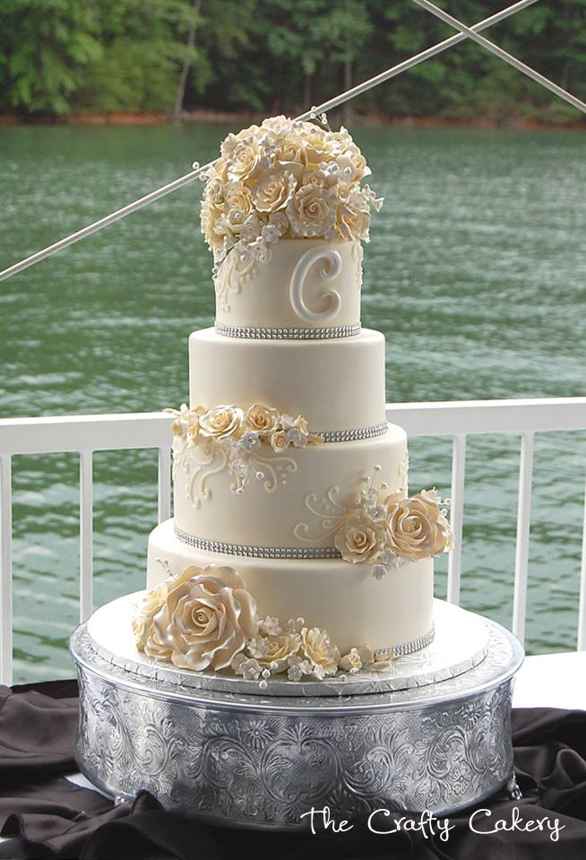Classic Fondant Covered Wedding Cake With Rose Sugar...