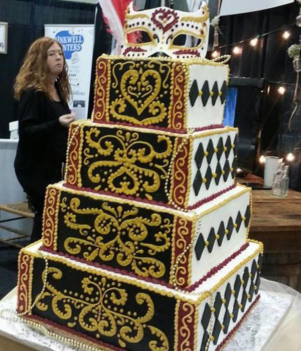 Masquerade Themed Wedding Cake Displayed At The 2014 Wedding Planner And Guide Bridal Show Made Mainly With Buttercream The Harlequin Di
