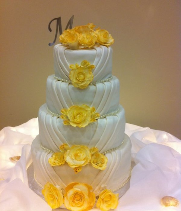 Elegant Pleated Wedding Cake