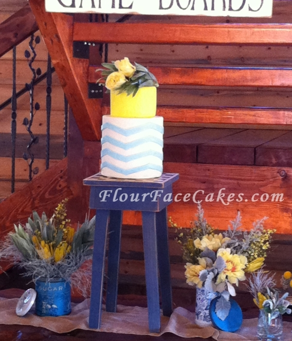 Blue And Yellow Vintage Chevron Stripes