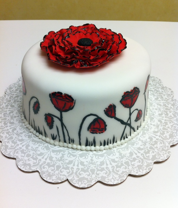 Hand Painted Modern Poppy Cake