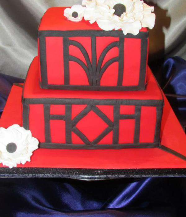 Red Art Deco With White Flowers